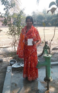 Woman with loan paper and pump